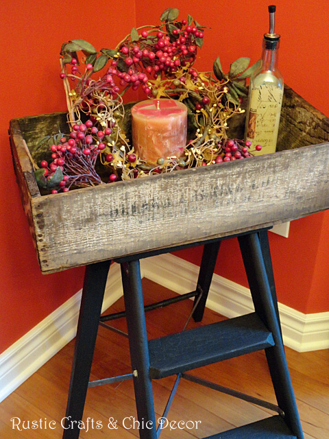 upcycled crate into a table