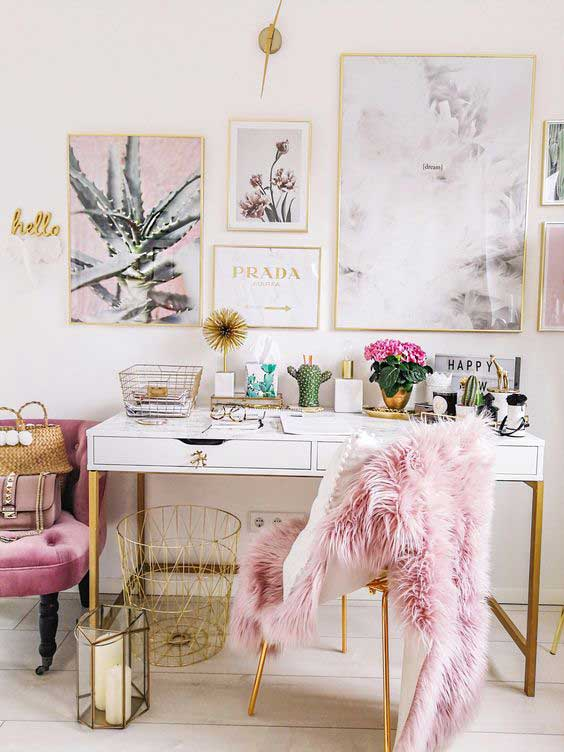 dusty pink chic office space