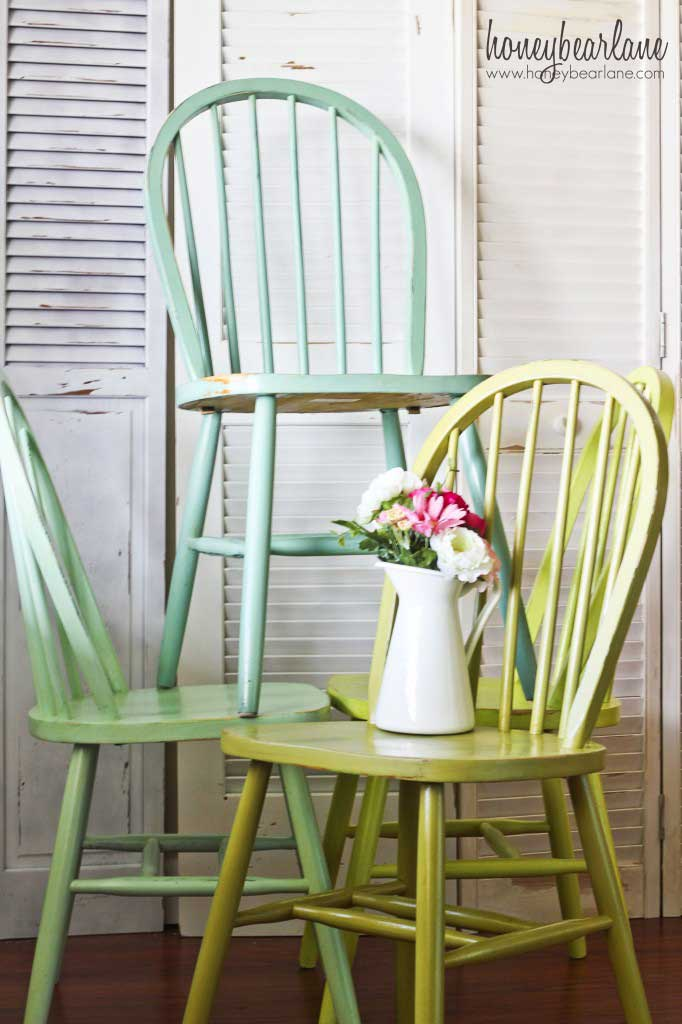 green painted chairs