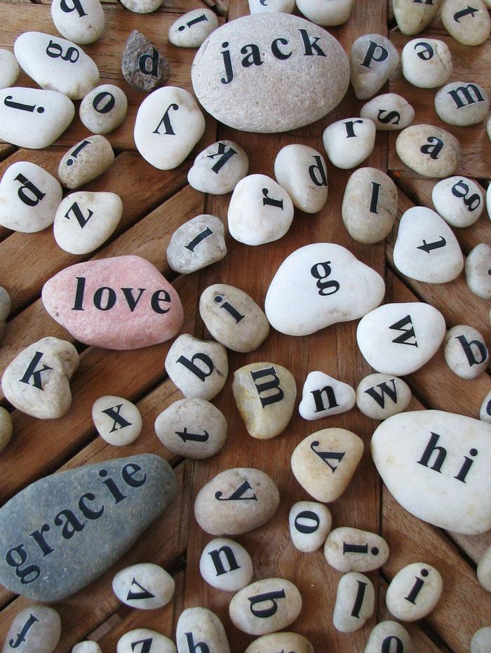 alphabet letter rocks