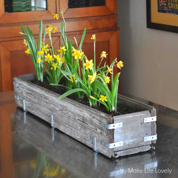rustic industrial wooden box planter