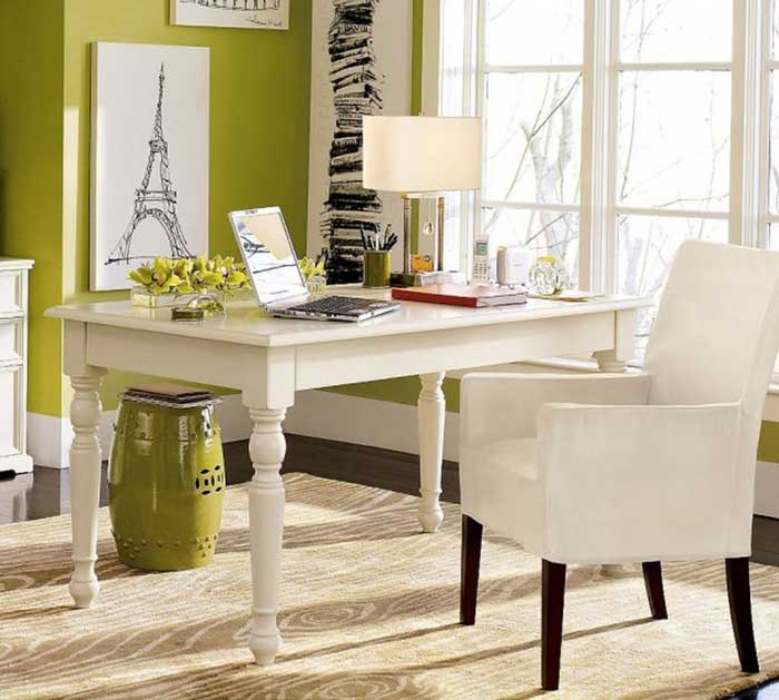splash of green chic office design