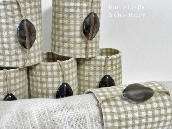 toilet paper roll napkin rings in a rustic style