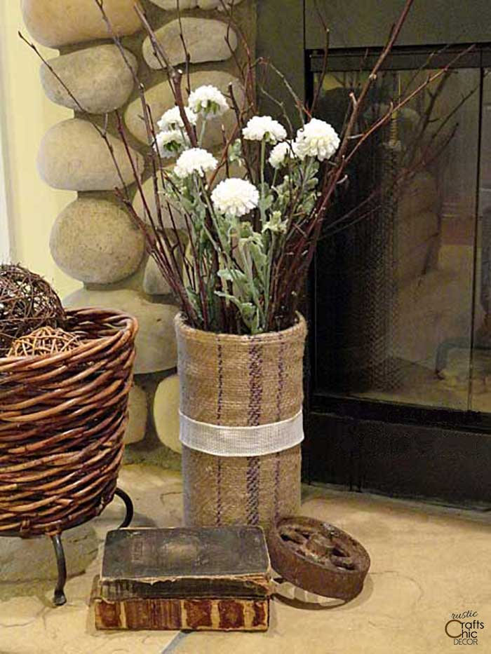 rustic decor vase made with a vintage grain sack
