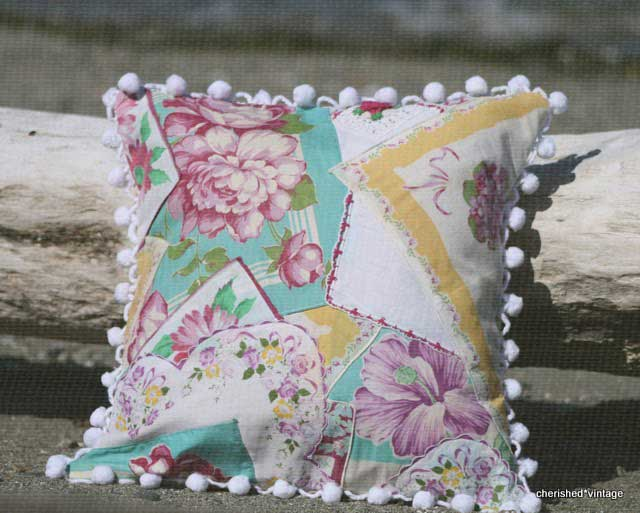 vintage handkerchief quilted pillow