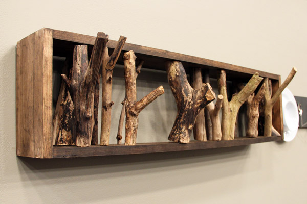 wood box and branch coat rack craft