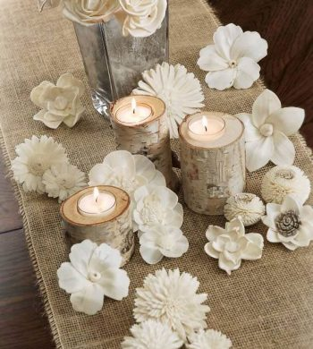 burlap and birch decorating ideas