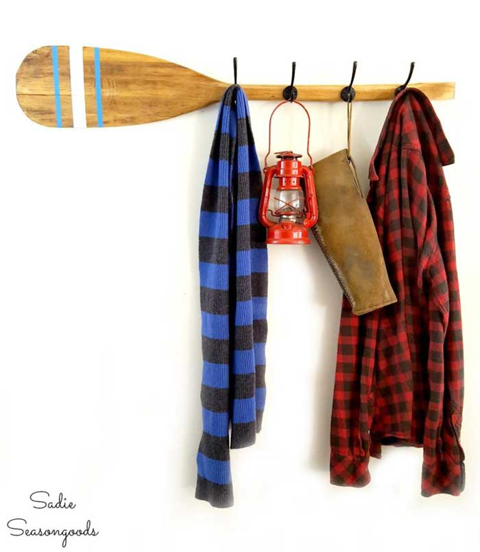 canoe paddle coat rack cabin decor idea