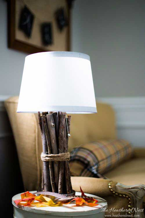 diy rustic twig lamp