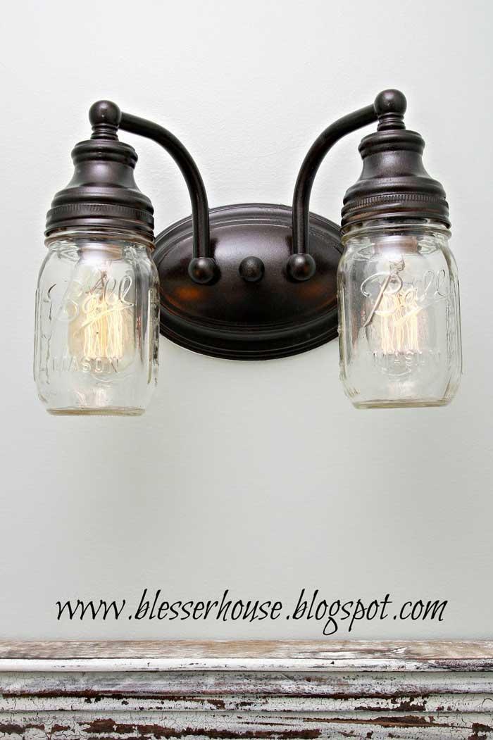 mason jar light fixture DIY