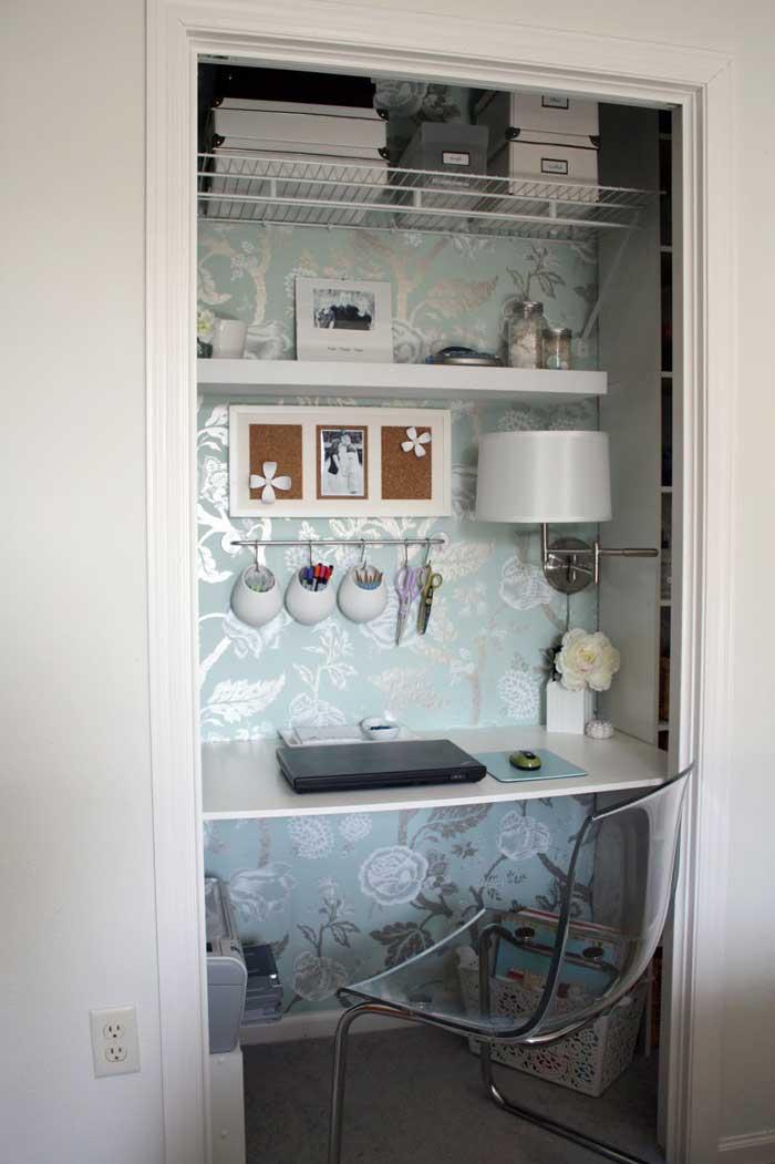 single door closet craft nook
