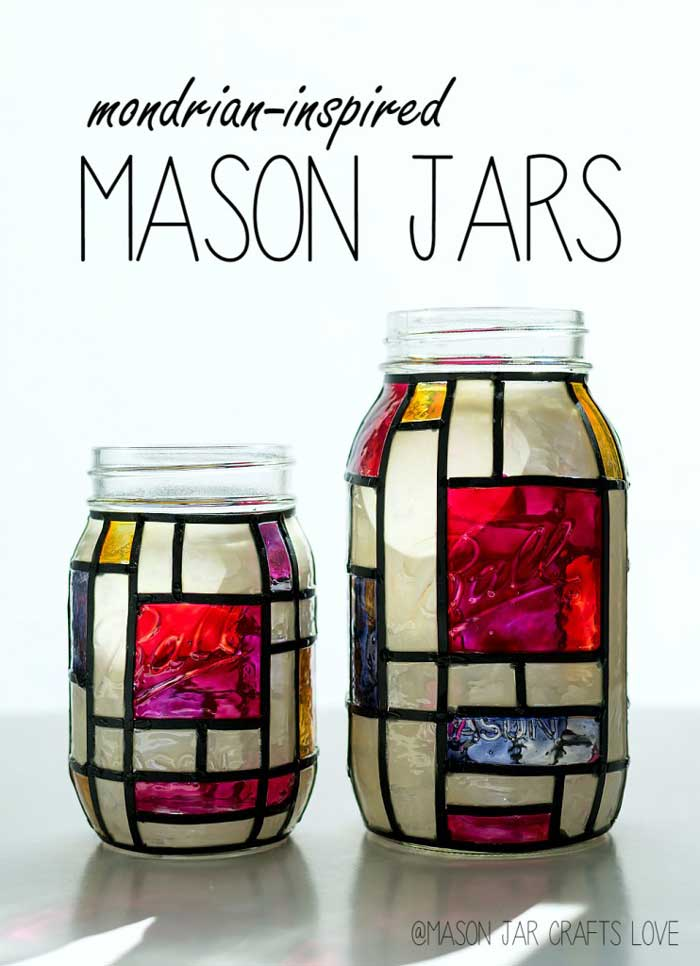 stained glass mason jar decor