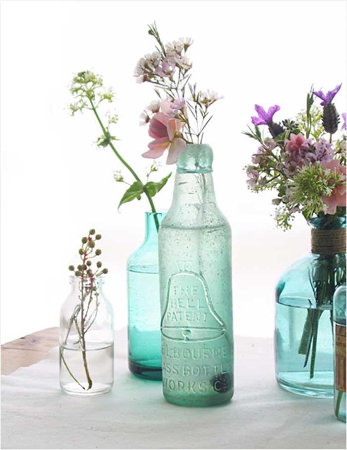 vintage bottle floral vases