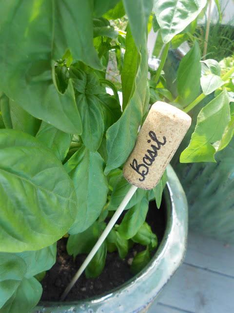 wine cork herb marker