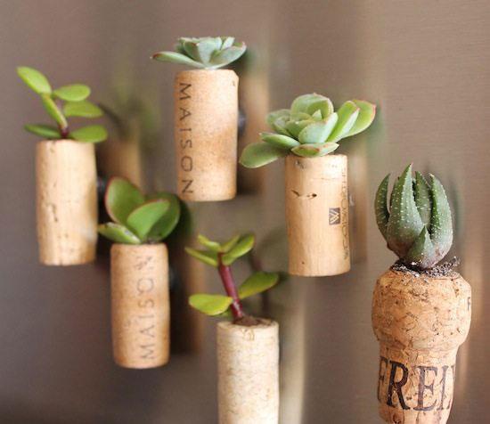 wine cork planter magnets