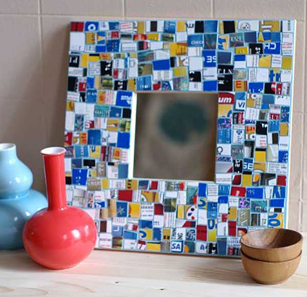 recycled credit card mosaic picture frame