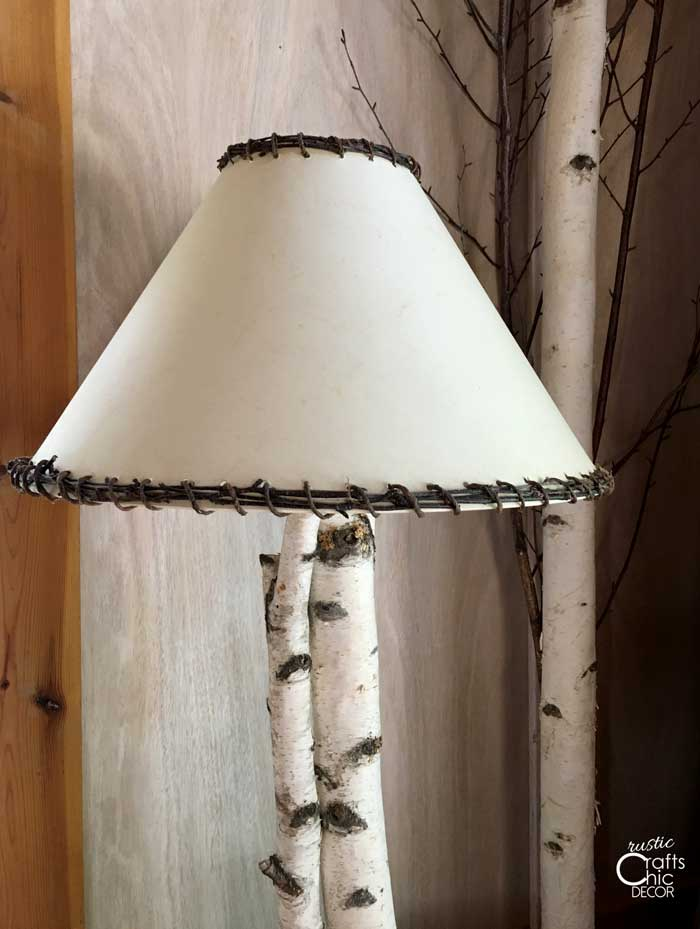 how to decorate a lampshade with branches