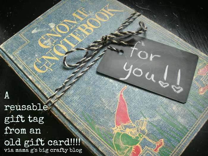 recycled gift card gift tag