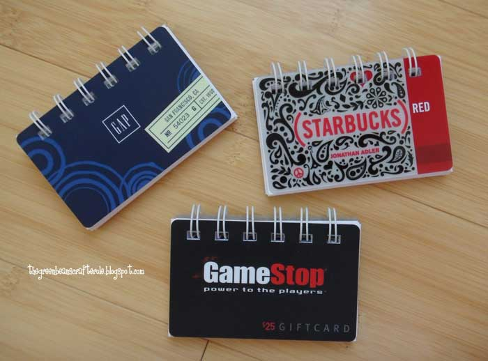 gift card notebooks