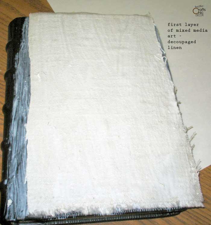 mixed media art linen layer