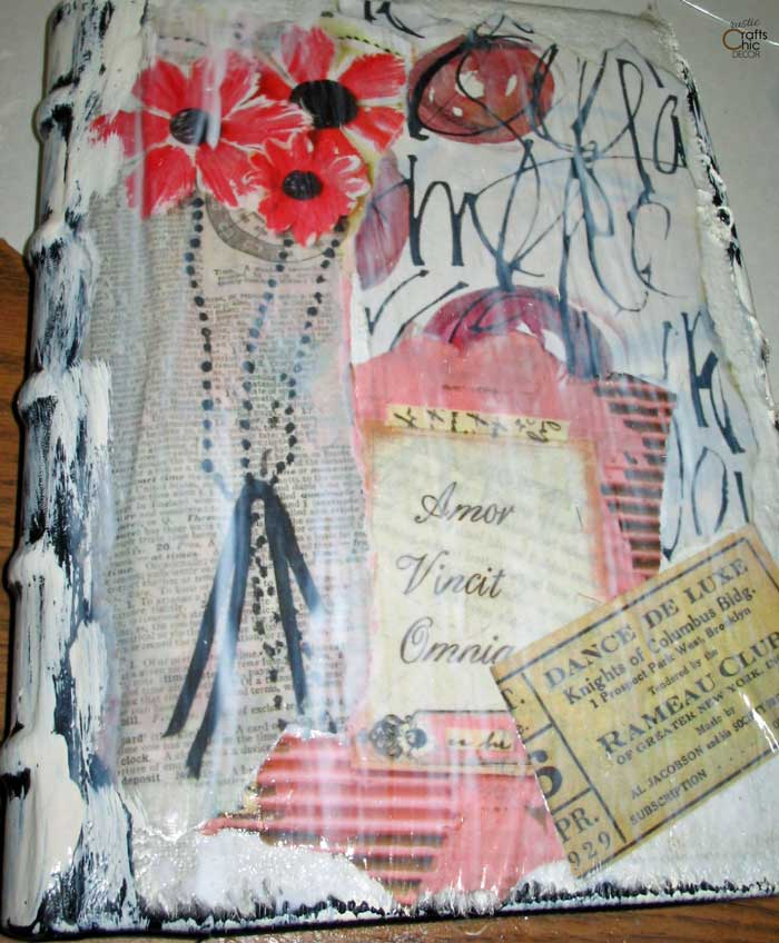 second layer of mixed media art on journal
