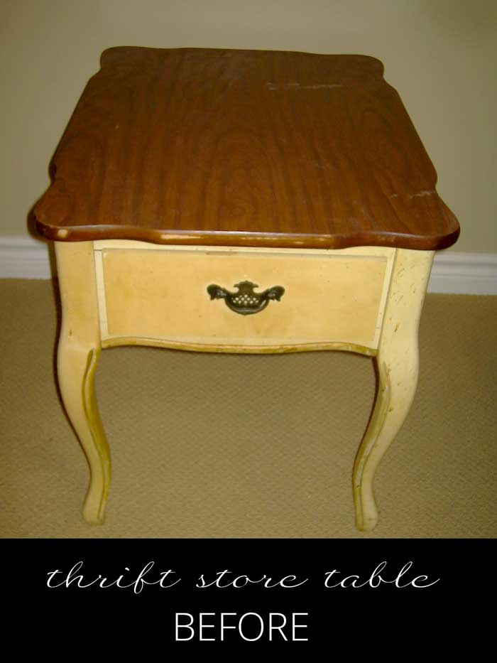 end table before makeover