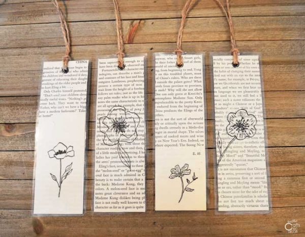 diy laminated book page bookmarks