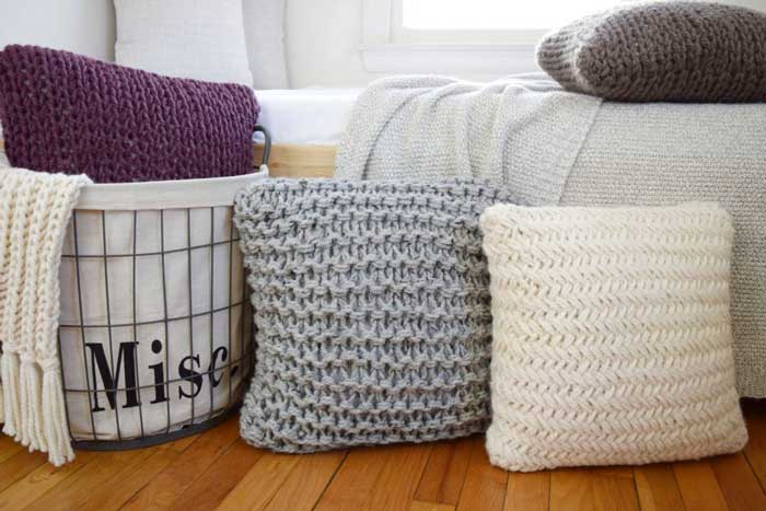 chunky throw pillow knitting projects