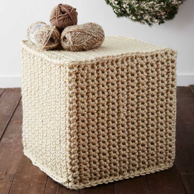 crocheted ottoman knitting project