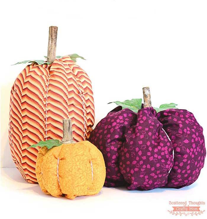 fabric pumpkin craft for Fall