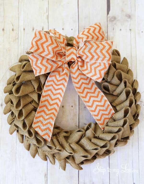 fall burlap wreath craft