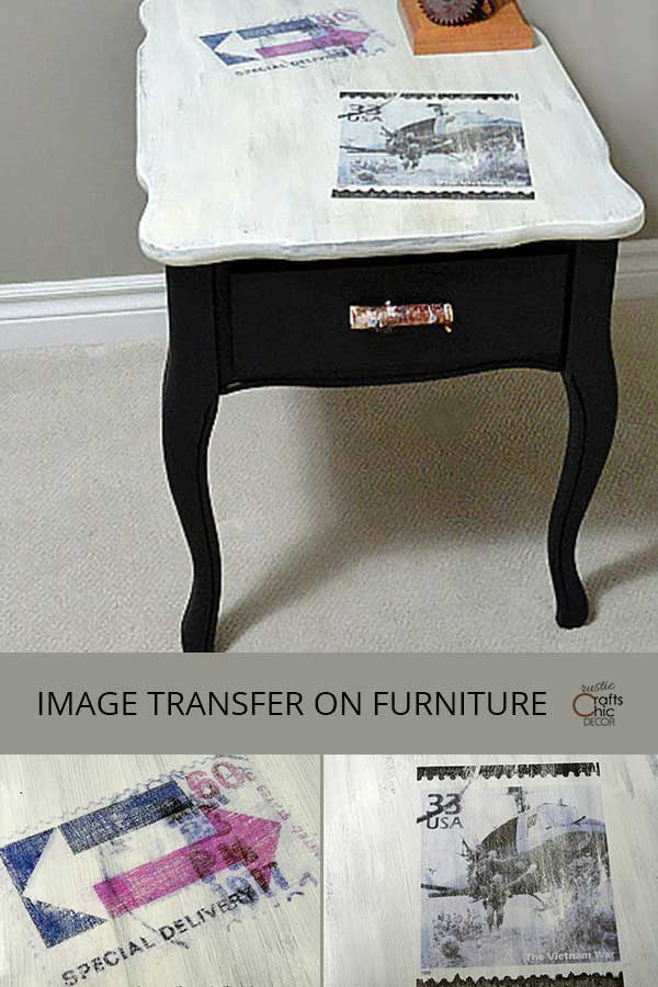 image transfer on wood furniture