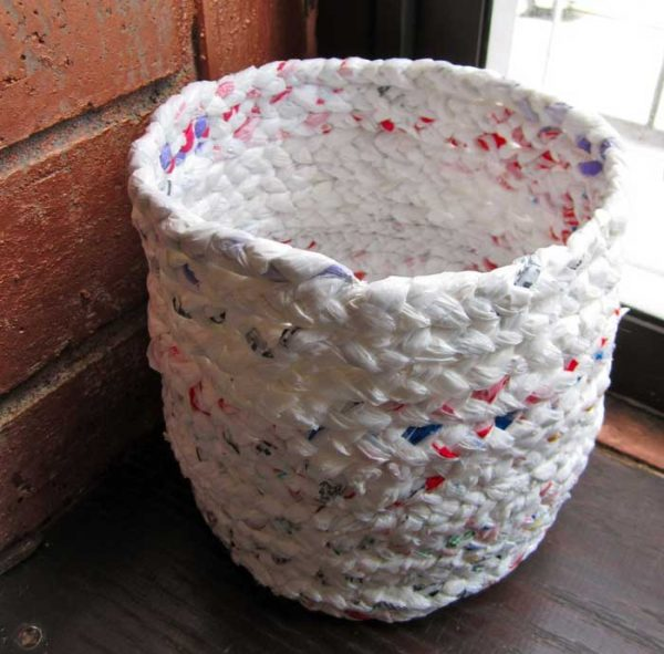 upcycled plastic bags made into a basket