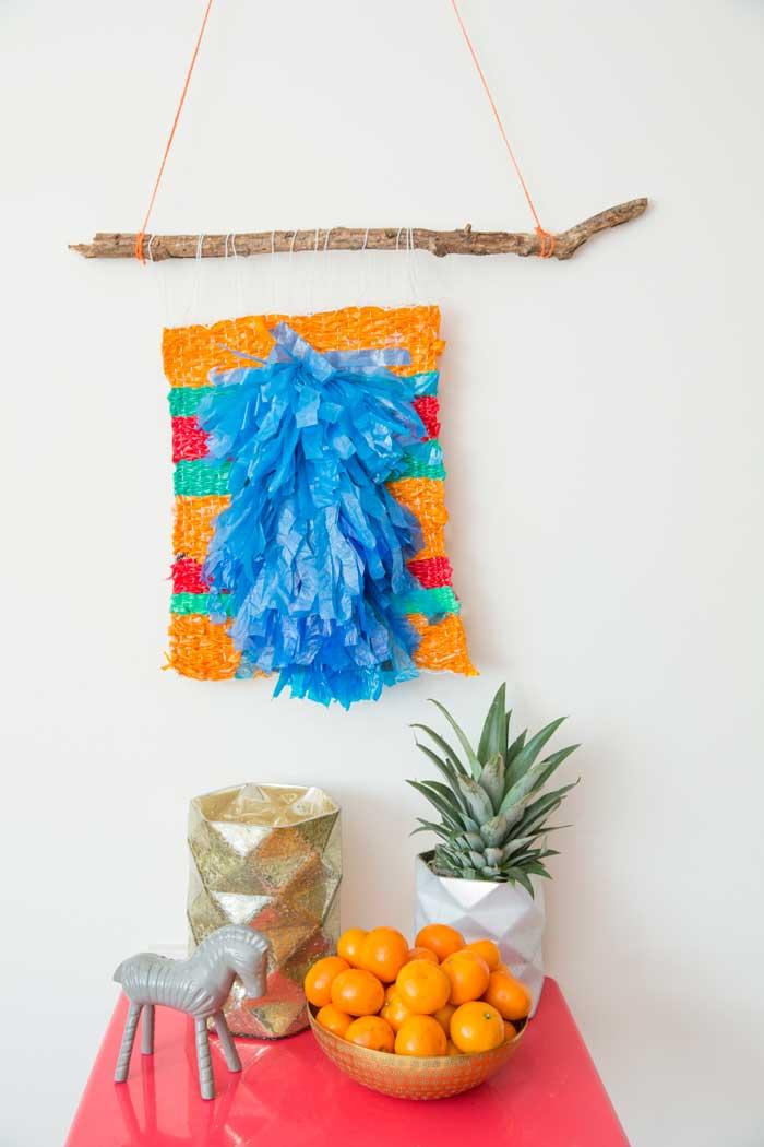 woven plastic bag wall hanging