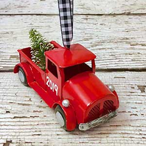 2019 rustic red truck christmas ornament