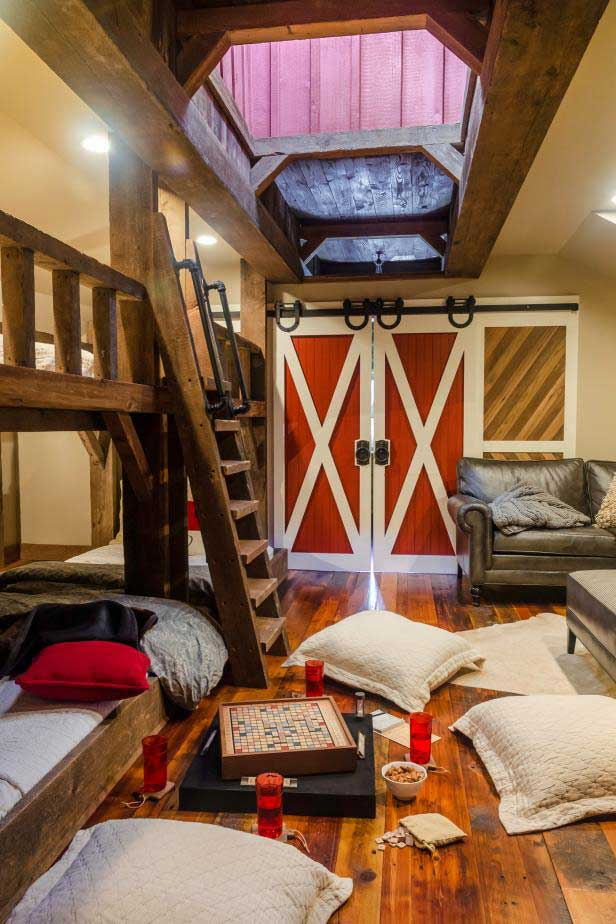 barn door playroom idea