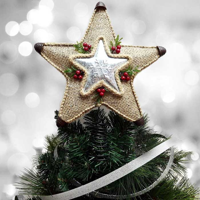 burlap and metal star rustic tree topper
