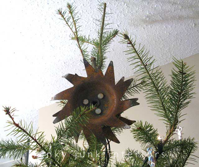 rusted salvaged metal tree topper