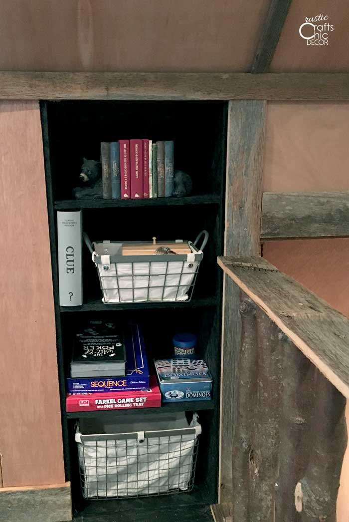 built in game storage shelving