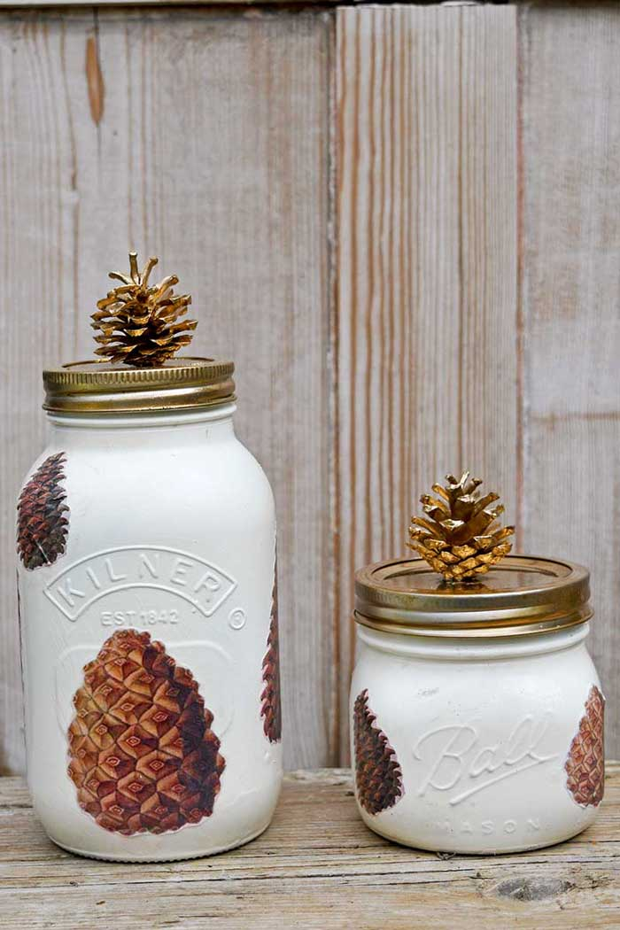 pine cone mason jars