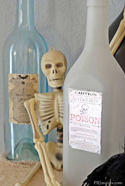 poison recycled bottles for Halloween