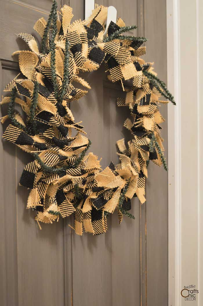buffalo check burlap rag wreath