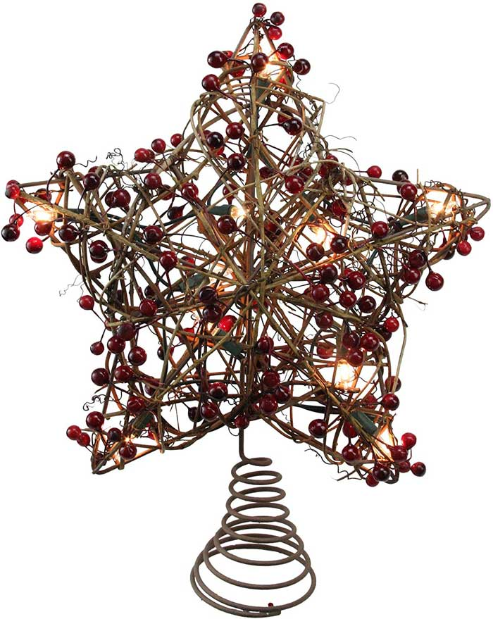 natural rattan star with red berries lighted tree topper