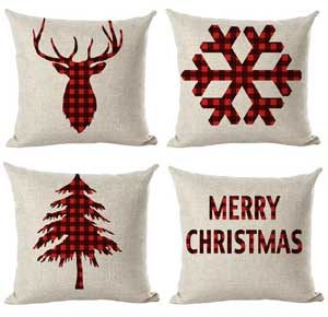 red buffalo check christmas pillow covers