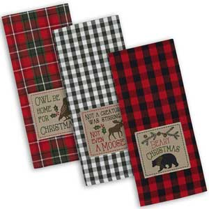 rustic christmas holiday dish towels
