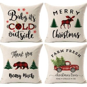rustic christmas throw pillows