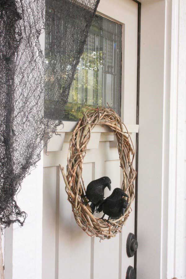 rustic crow wreath