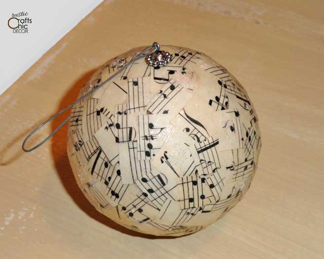 easy Christmas paper craft - vintage song sheet christmas ball