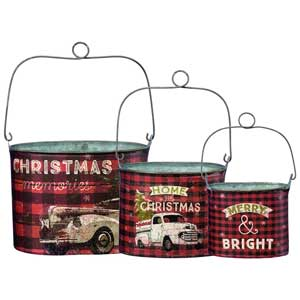 three piece christmas plaid rustic tin buckets
