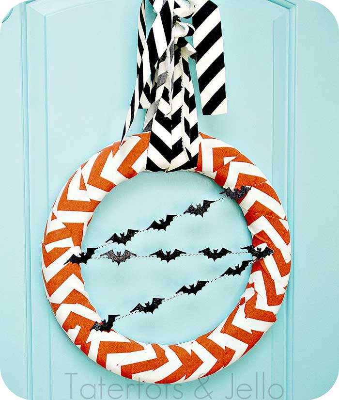 whimsically spooky halloween wreath idea